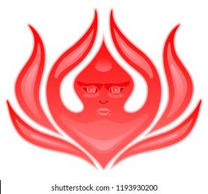 Seraphim, six-winged angel from Bible Book of Revelation. Stylized Seraph. Flaming fire cherub. Vector illustration