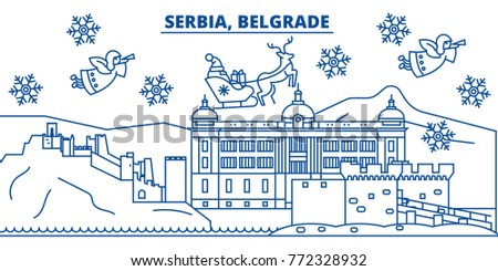 Serbia belgrade winter city skyline merry stock vector royalty free serbia belgrade winter city skyline merry christmas happy new year decorated banner with m4hsunfo