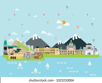 Serbia famous landmarks and destinations icon set, info graphic element, minimal style,Travel and tourism illustration vector