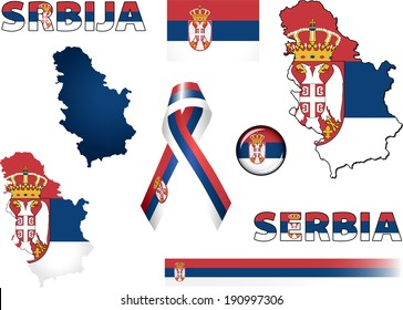 Serbia Icons. Set of vector graphic icons and symbols representing Serbia. The text says 'Serbia' in the Serbian language.