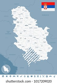 Serbia map and flag - High Detailed Vector Illustration