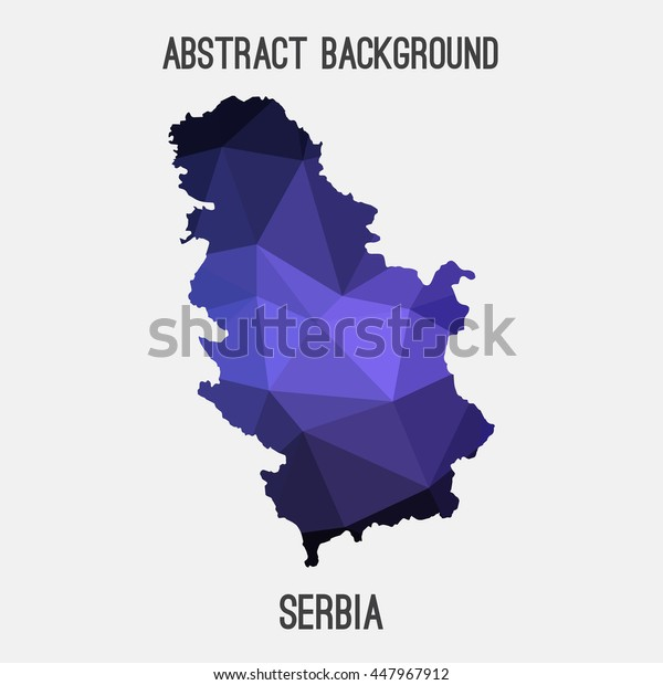 Serbia map in geometric polygonal,mosaic style.Abstract tessellation,modern design background. Vector illustration EPS8