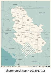 Serbia Map - Vintage High Detailed Vector Illustration