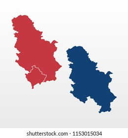 Serbia map with and without Kosovo