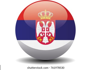 Serbia national circle button flag background texture. Vector illustration.