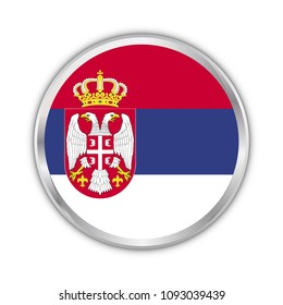 serbia national circle flag vector