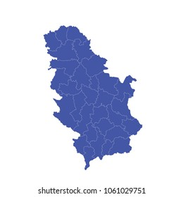 Serbia No Kosovo map - High detailed pastel color map of Serbia No Kosovo. Serbia No Kosovo map isolated on transparent background.