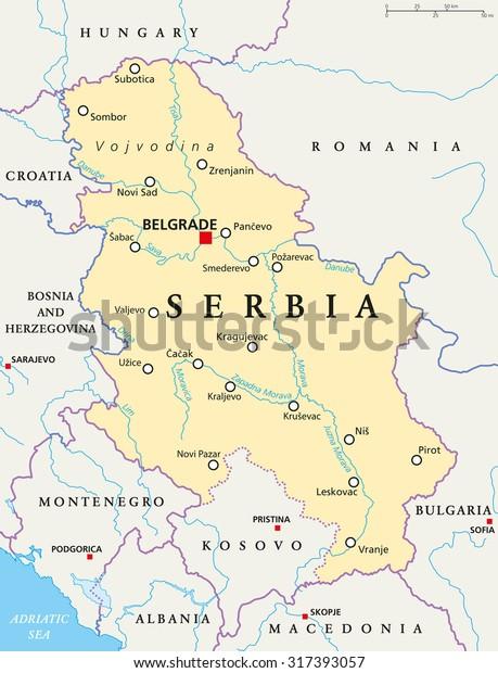 Serbien Politische Karte Mit Der Hauptstadt Stock Vektorgrafik