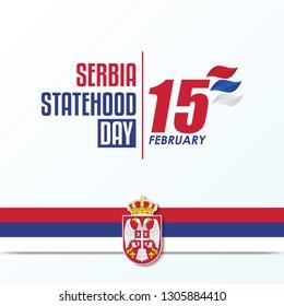Serbia Statehood Day Background. 15 February text logo design. vector illustration