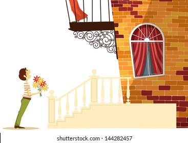 Serenade under the balcony of his girlfriend, illustration