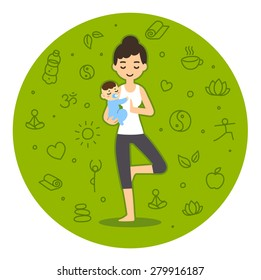 Serene looking young pretty woman in cartoon style doing yoga while holding a cute and calm baby boy. Background is a pattern of wellness related symbols.