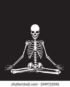 A serene meditating skeleton. Abstract illustration in black and white style.
