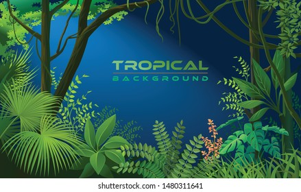 Serene night forest with tropical vegetation with leaves, trees, creepers and bushes.
