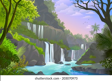A serene view of waterfalls, cliffs and a natural rocky environment