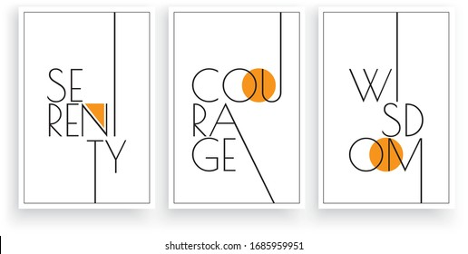 Serenity, Courage, Wisdom, vector. Scandinavian art design. Three pieces minimalist poster design. Wall art work, wall decoration. Wording design, lettering