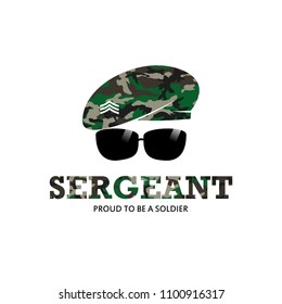 Sergeant Army Soldier Military with Logo with camouflage baret logo Illustration