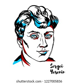 Sergei Yesenin engraved vector portrait with ink contours. Russian lyric poet. He is one of the most popular and well-known Russian poets of the 20th century.