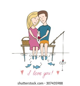 """Series abstract vector illustration """"of the life of a pair of lovers"""". Love card. date on the bank of the river sitting on a wooden pier."""