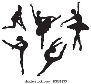 Series of ballet dancer silhouettes (various poses)