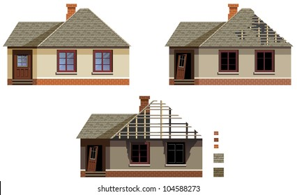The series of the buildings before and after fire. In vector. With examples of the patterns.
