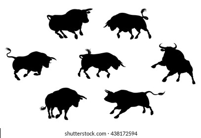 A series of bull cattle animal silhouettes