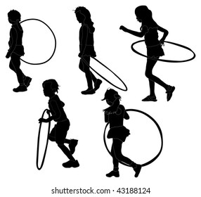 Series of children playing with hula-hoops
