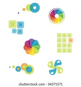 series of colorful graphics