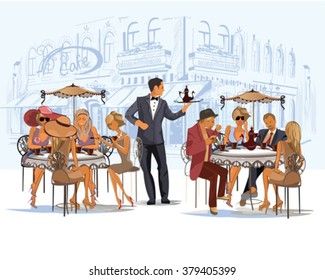 Series of fashion people, men and women, sitting and drinking coffee in the street cafe