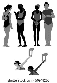 Series of female swimmers, silhouettes - poolside