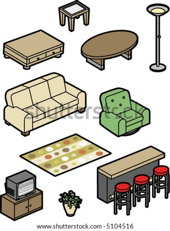 A series of home furnishing items