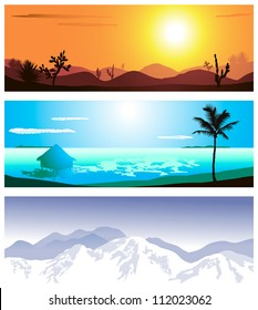 A series of illustrations of 3 geographical locations
