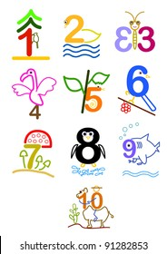 a series of line arts for a concept picture for number 1 - 10. can use for education, birthday, years old, anniversary.