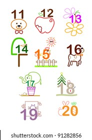 a series of line arts for a concept picture for number 11 - 20. can use for education, birthday, years old, anniversary.