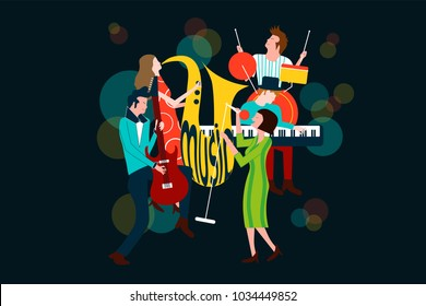Series of music concert composition with men and women singing and playing sax, electric guitar, piano and drum - Colorful vector illustration isolated on blue background