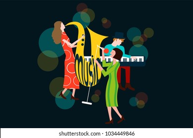 Series of music jazz, blues concert composition with men and women singing and playing sax and piano - Colorful vector illustration isolated on blue background