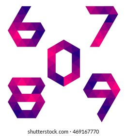 Series of numbers 6, 7, 8, 9, 0 formed by colored triangles. Geometric shape. White background. Isolated.