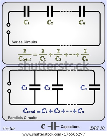 Series Parallel Circuits Capacitor Stock Vector Royalty Free Uses Of Circuit And