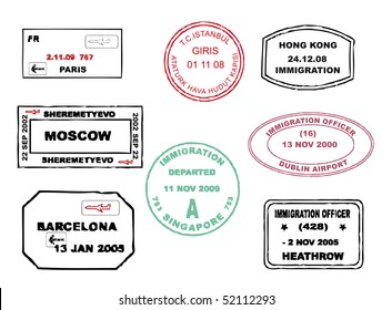 Series of passport stamps from different parts of the world