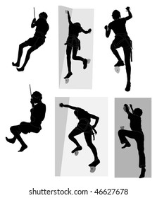 Series of people abseiling and rock climbing