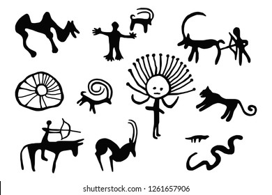 A series of petroglyphs, rock paintings of Central Asia (Kyrgyzstan), vector design
