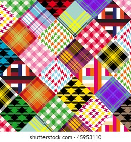 a series of plaids and checks done like a patchwork quilt