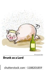 A series of postcards with a piglet. Proverbs and sayings per month. Drunk as a Lord. Pig lies in a dirty puddle. The crown is worn on the head. Cute funny piggy. Hand-drawn. Cartoon. Watercolor style