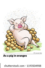 A series of postcards with a piglet. Proverbs and sayings. As a pig in oranges. A fat pig lies among oranges on the grass. Cute funny piggy. Hand-drawn. Cartoon. Watercolor style