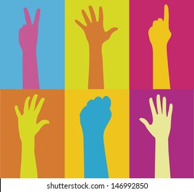 Series of raised hands in variant colors.