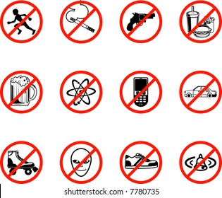 A series set of icons all outlining things that are prohibited or are calling on to be banned! E.g. No running, no smoking, no firearms, no eating, no alcohol, no phones, no sneakers etc.