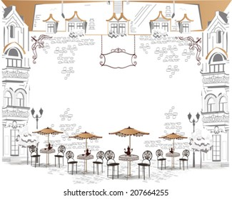 Series of sketches of beautiful old city views with cafes - coffee frame