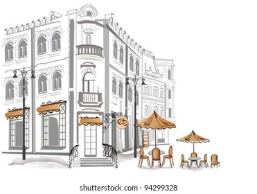 Series of sketches of beautiful old streets with cafes