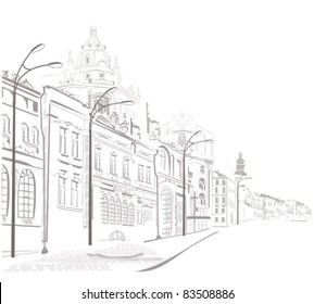 Series of sketches of the streets in the old city