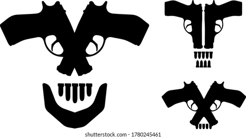 Series of skulls made of handguns