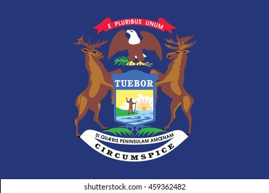 Series of the states flag in the US - Michigan